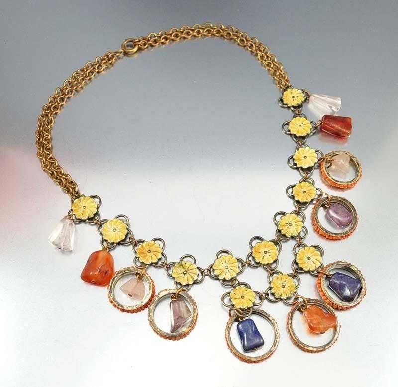 Chinese Coral Amethyst Gemstone Art Deco Necklace - Boylerpf