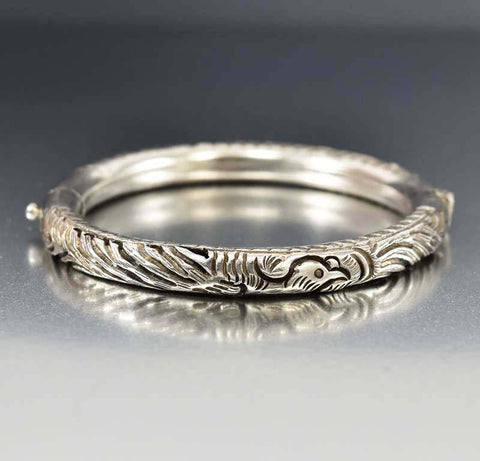 Vintage Love Engraved Sterling Silver Band Ring