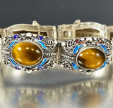 Vintage Chinese Silver and Enamel Tiger Eye Bracelet - Boylerpf