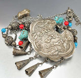 Antique Chinese Silver Lock Necklace Coral Turquoise Bead - Boylerpf - 3