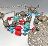 Antique Chinese Silver Lock Necklace Coral Turquoise Bead - Boylerpf