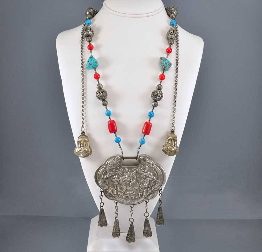 Antique Chinese Silver Lock Necklace Coral Turquoise Bead - Boylerpf - 1