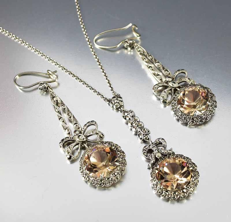 Edwardian Citrine Crystal Marcasite Necklace w Earrings - Boylerpf - 1