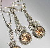 Edwardian Citrine Crystal Marcasite Necklace w Earrings - Boylerpf - 4