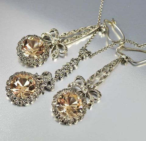Edwardian Citrine Crystal Marcasite Necklace w Earrings