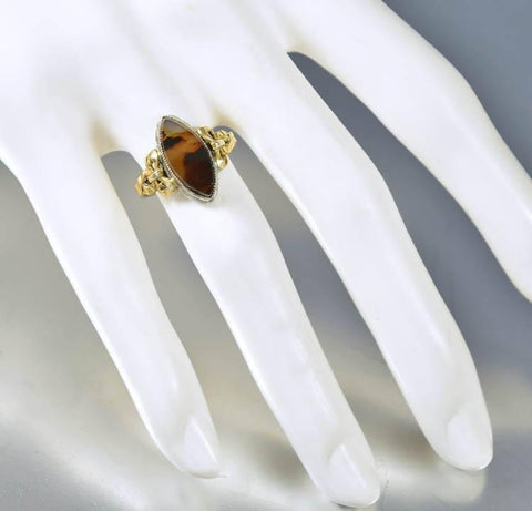 Antique Gold Sterling Silver Agate Edwardian Ring