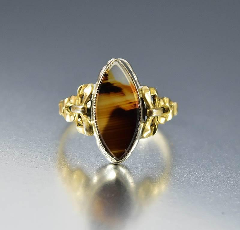 Antique Gold Sterling Silver Agate Edwardian Ring - Boylerpf - 1