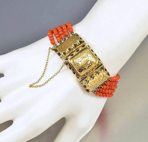 Antique Victorian Coral Bead Gold Locket Bracelet