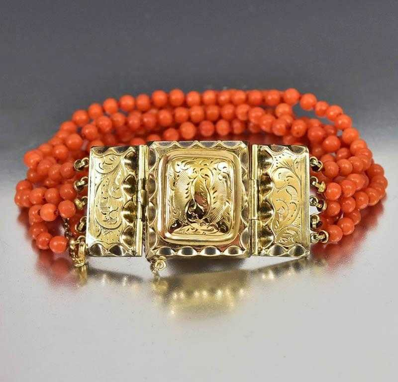 Antique Victorian Coral Bead Gold Locket Bracelet - Boylerpf - 1