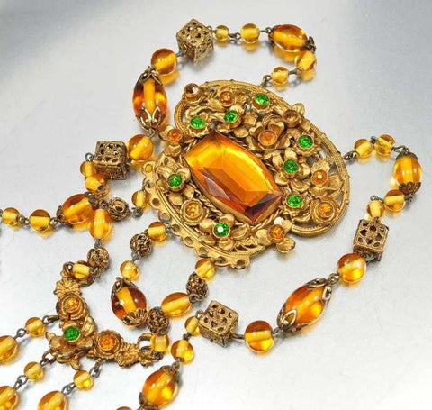 Vintage Emerald Amber Glass Czech Art Deco Necklace