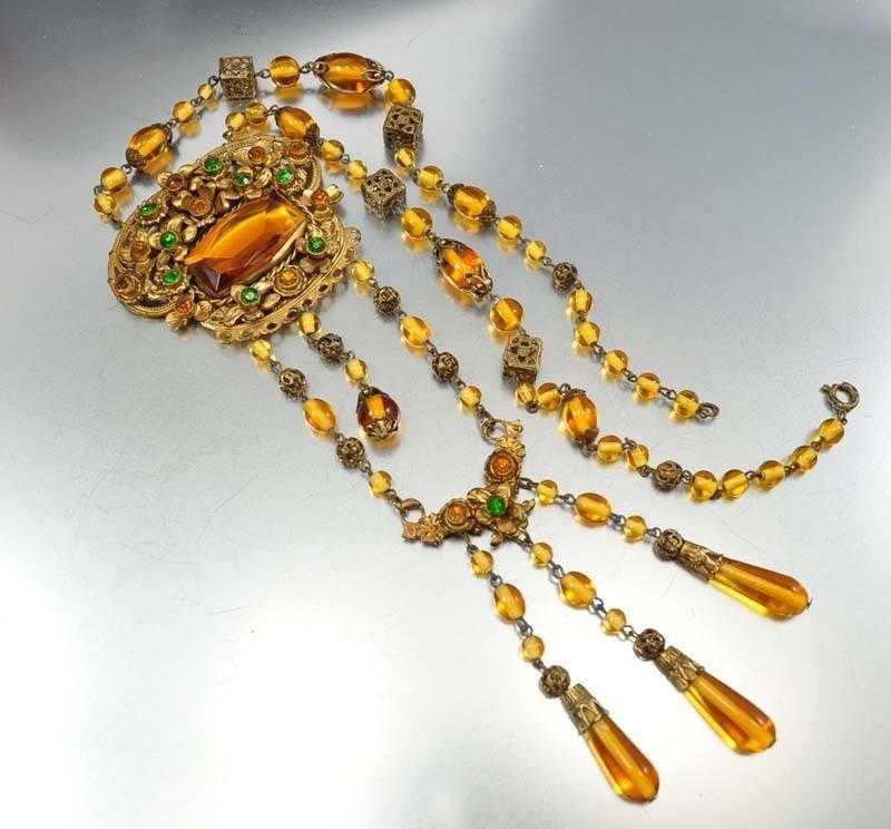 Vintage Emerald Amber Glass Czech Art Deco Necklace - Boylerpf