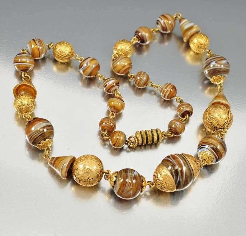 Vintage Brown Czech Glass Bead Art Deco Necklace - Boylerpf