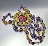 Antique 1920s Amethyst Czech Glass Art Deco Necklace - Boylerpf - 7