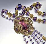 Antique 1920s Amethyst Czech Glass Art Deco Necklace - Boylerpf - 2