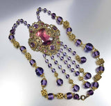 Antique 1920s Amethyst Czech Glass Art Deco Necklace - Boylerpf - 5