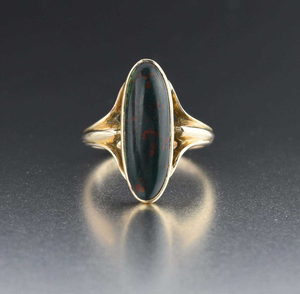 Oval Bloodstone 10K Gold Antique RIng 1910s - Boylerpf