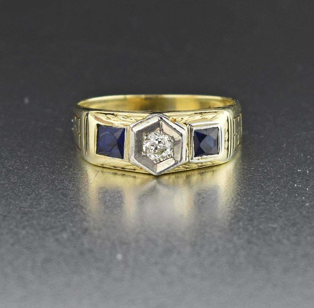 Diamond & Sapphire 14k Gold Art Deco Vintage RIng - Boylerpf