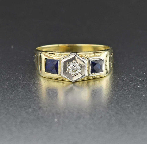 Diamond & Sapphire 14k Gold Art Deco Vintage RIng