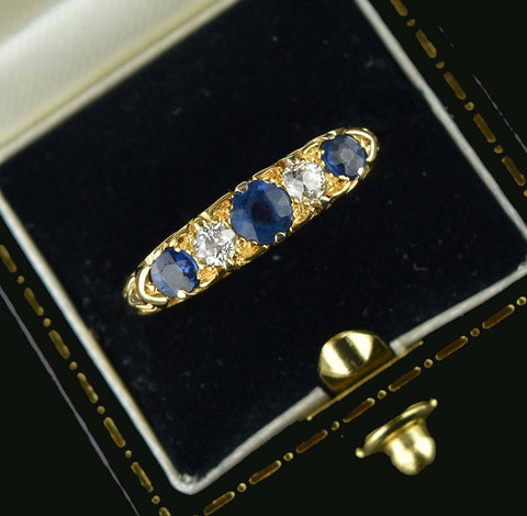 Antique 18K Gold Diamond & Sapphire Ring - ON HOLD