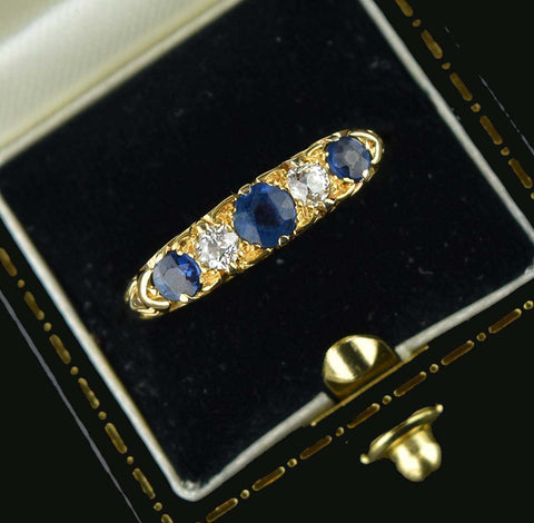 Final Payment Antique 18K Gold Diamond & Sapphire Ring
