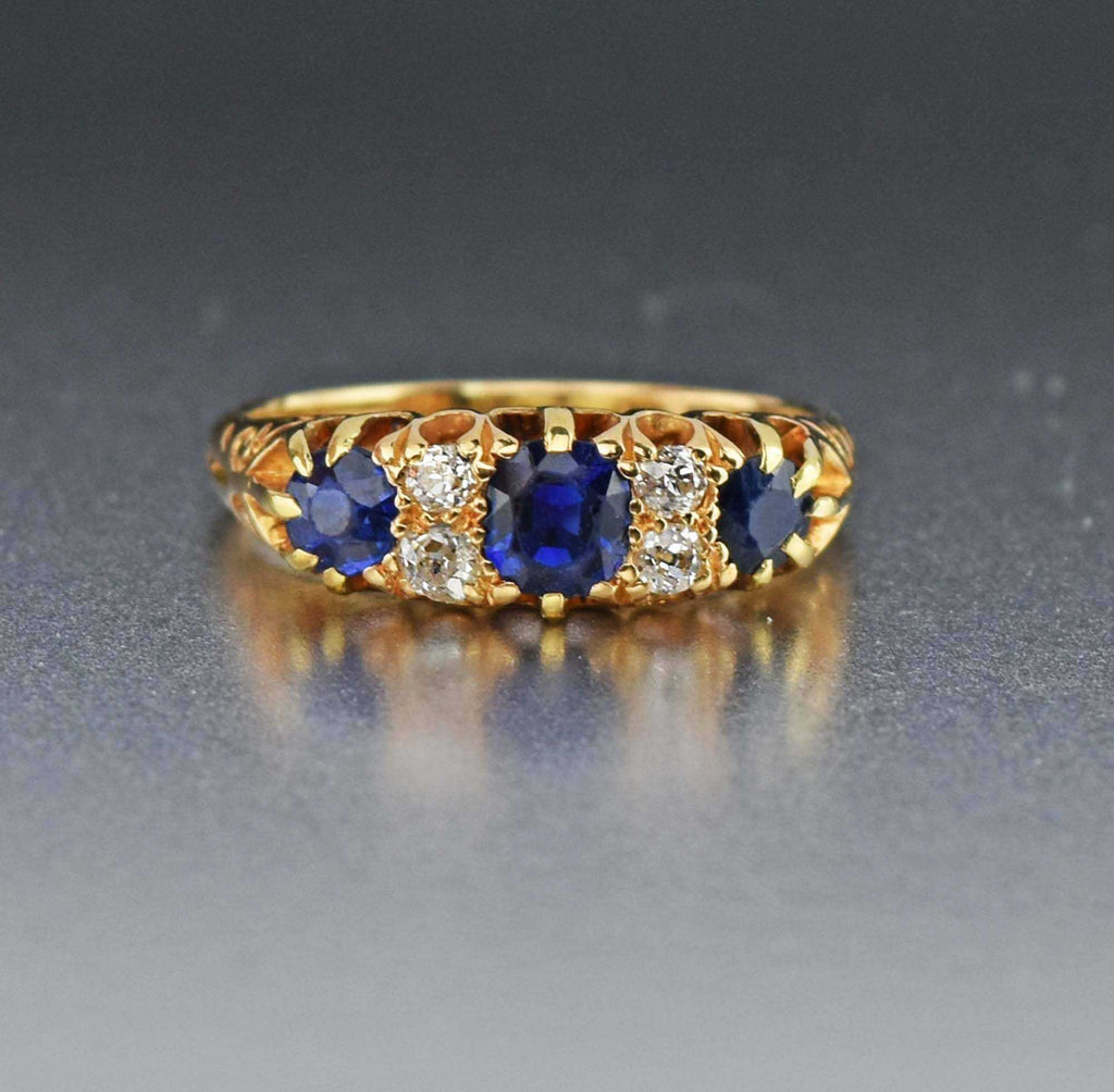 Diamond and Sapphire 18K Gold Band Ring - ON HOLD - Boylerpf