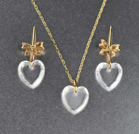 Gold Necklace & Earrings Set w Crystal Hearts