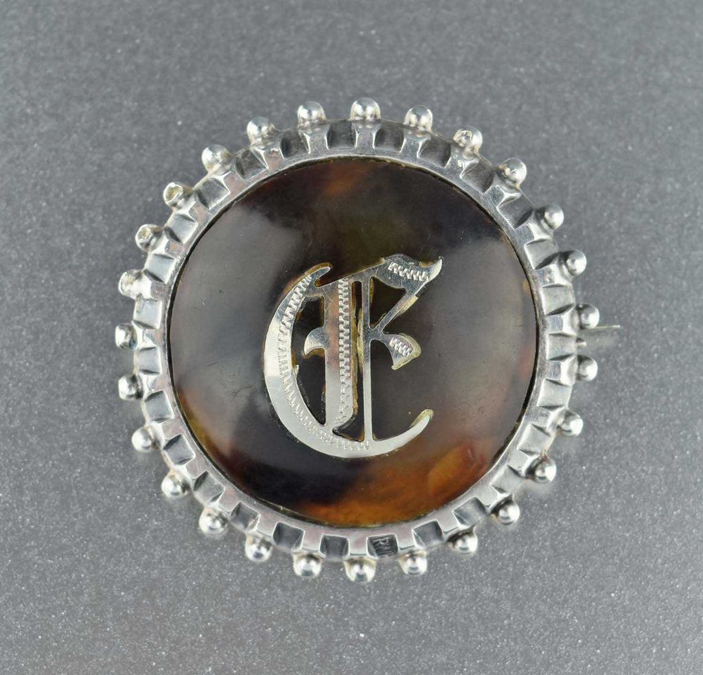 Initial Pique Brooch,Sterling Silver  Antique Letter E Brooch Pin 1908 - Boylerpf