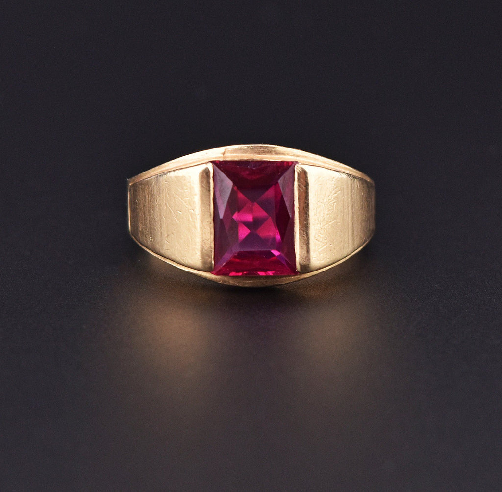 Mens Vintage Gold Ruby Signet Style Wide Band Ring - Boylerpf