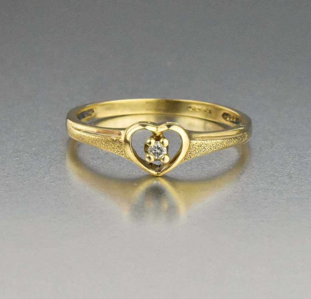 Best Friends Vintage Diamond Heart Ring 10K Gold - Boylerpf