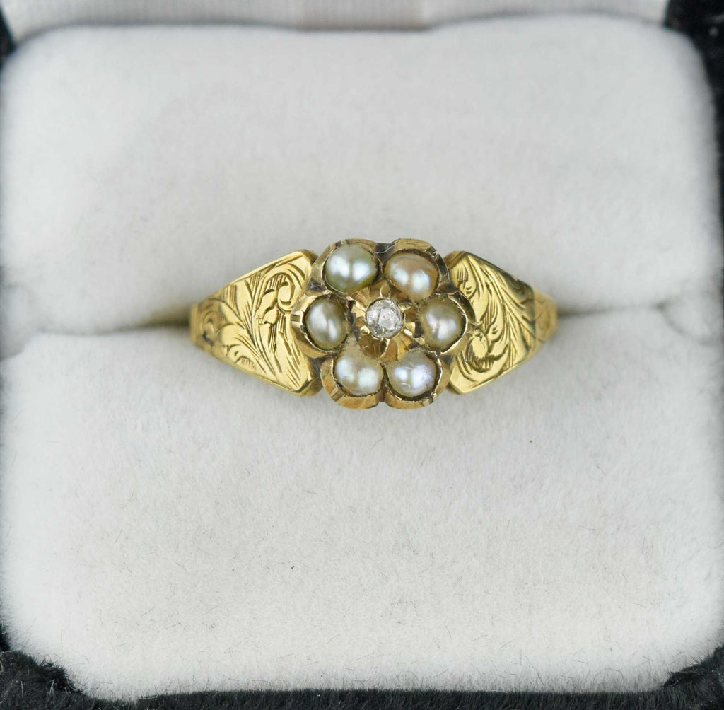 Secret Locket Antique Diamond Pearl Cluster Ring - Boylerpf