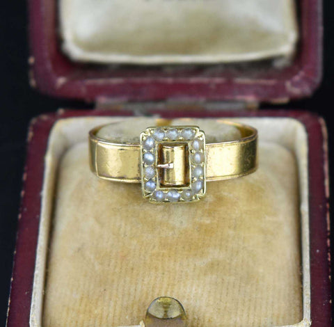 Vintage Seed Pearl Gold Buckle Ring 19th Century - ON HOLD