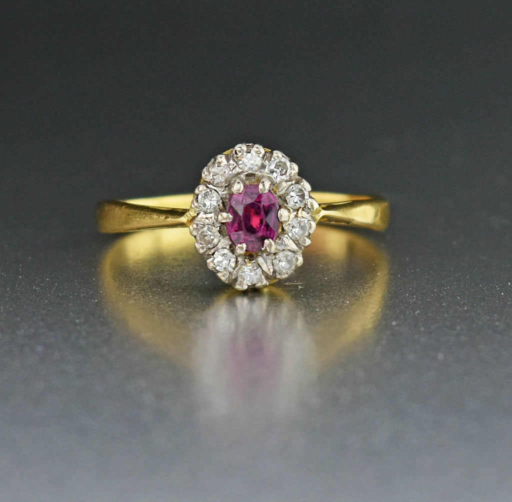18K Gold Vintage Ruby Diamond Halo Engagement Ring - Boylerpf