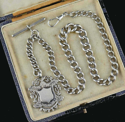 Antique Sterling Silver Watch Chain & Fob Edwardian 1910s