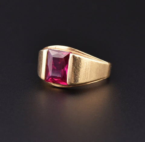 Mens Vintage Gold Ruby Signet Style Wide Band Ring