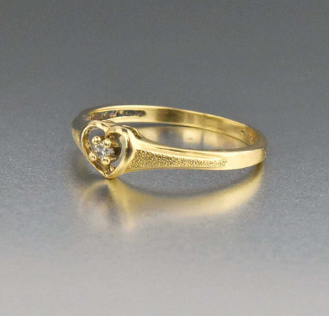 Best Friends Vintage Diamond Heart Ring 10K Gold