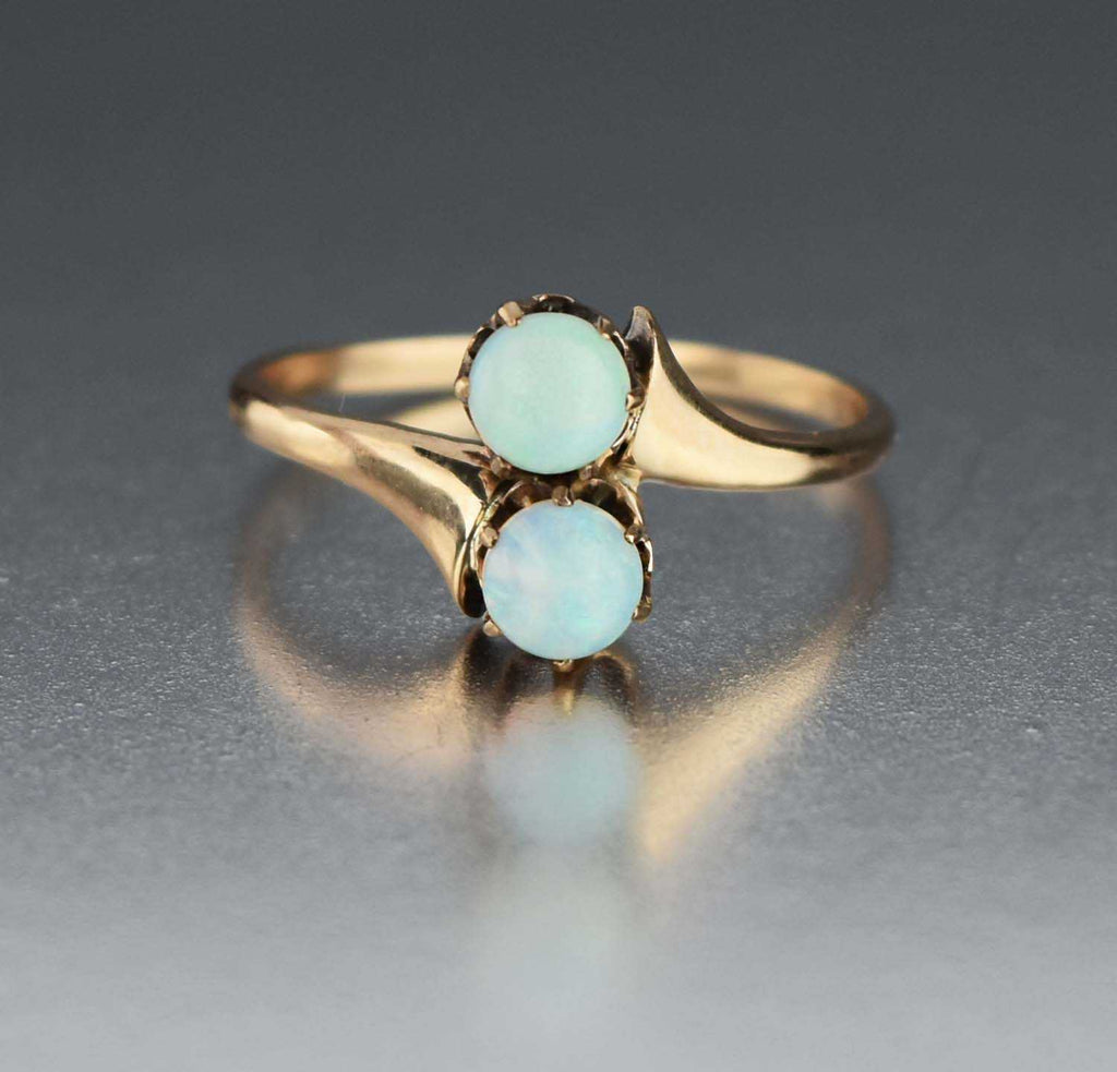 Two Stone Cabochon Toi et Moi Antique Opal Ring 10K Gold - Boylerpf