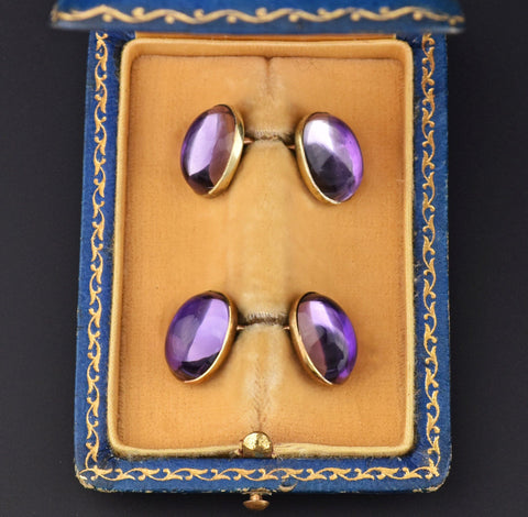 Antique 14K Gold 1920s Amethyst Cufflinks, Original Case