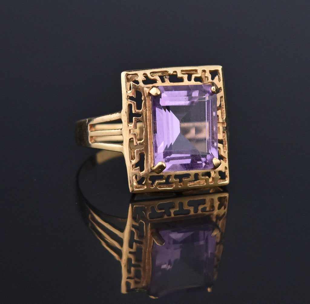 Amethyst Gold Greek Key Pattern Retro Ring - Boylerpf