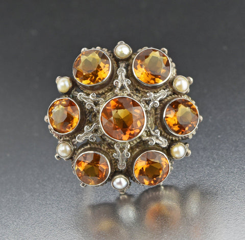 Antique Austro Hungarian Citrine Brooch, C 1800s