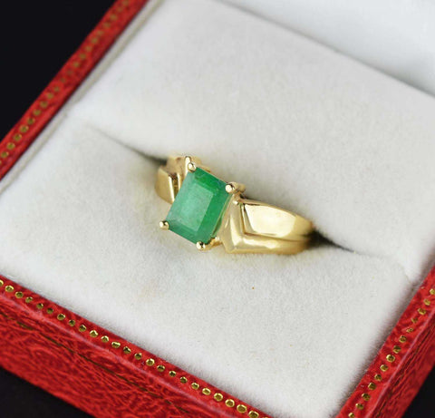 Retro 14K Gold Vintage Emerald Ring, Art Deco Style
