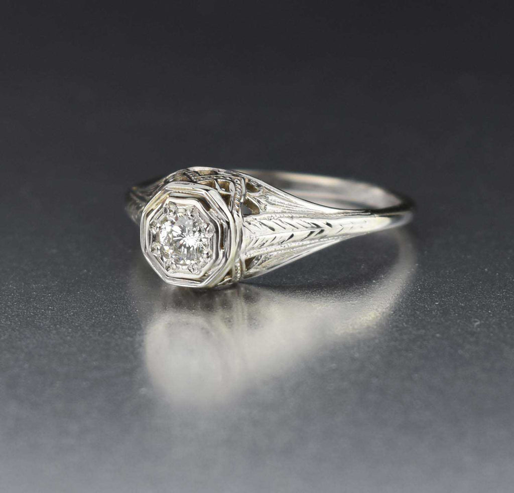 Fine Vintage Diamond Solitaire Engagement Ring - Boylerpf