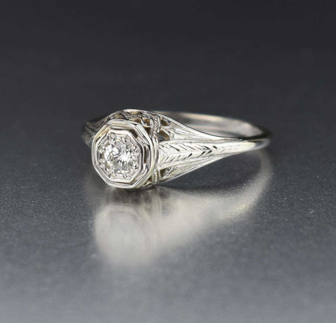 Fine Vintage Diamond Solitaire Engagement Ring