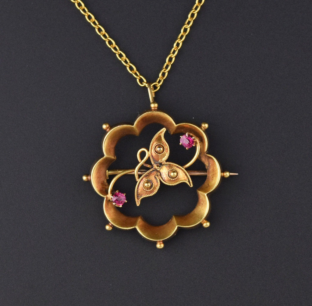 Antique 15K Gold Clover Ruby Brooch Pendant - Boylerpf