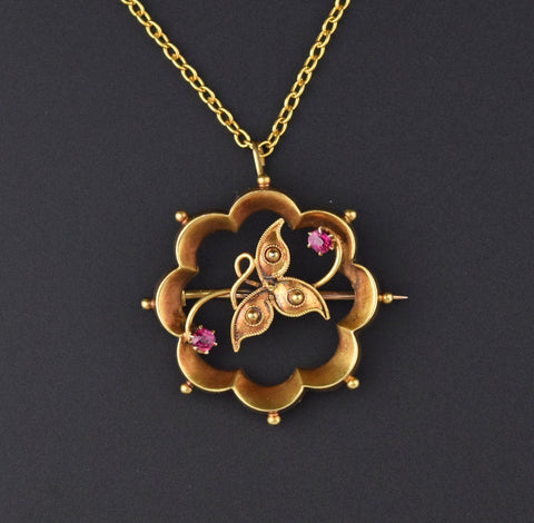 Antique 15K Gold Clover Ruby Brooch Pendant