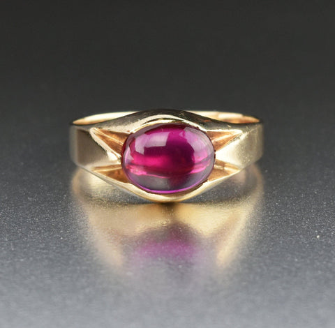 5th Payment Mens Art Deco Gold Synthetic Ruby Signet Ring Sz 10.25