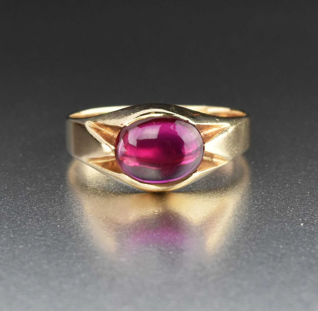 Final Payment Mens Art Deco Gold Synthetic Ruby Signet Ring Sz 10.25 - Boylerpf