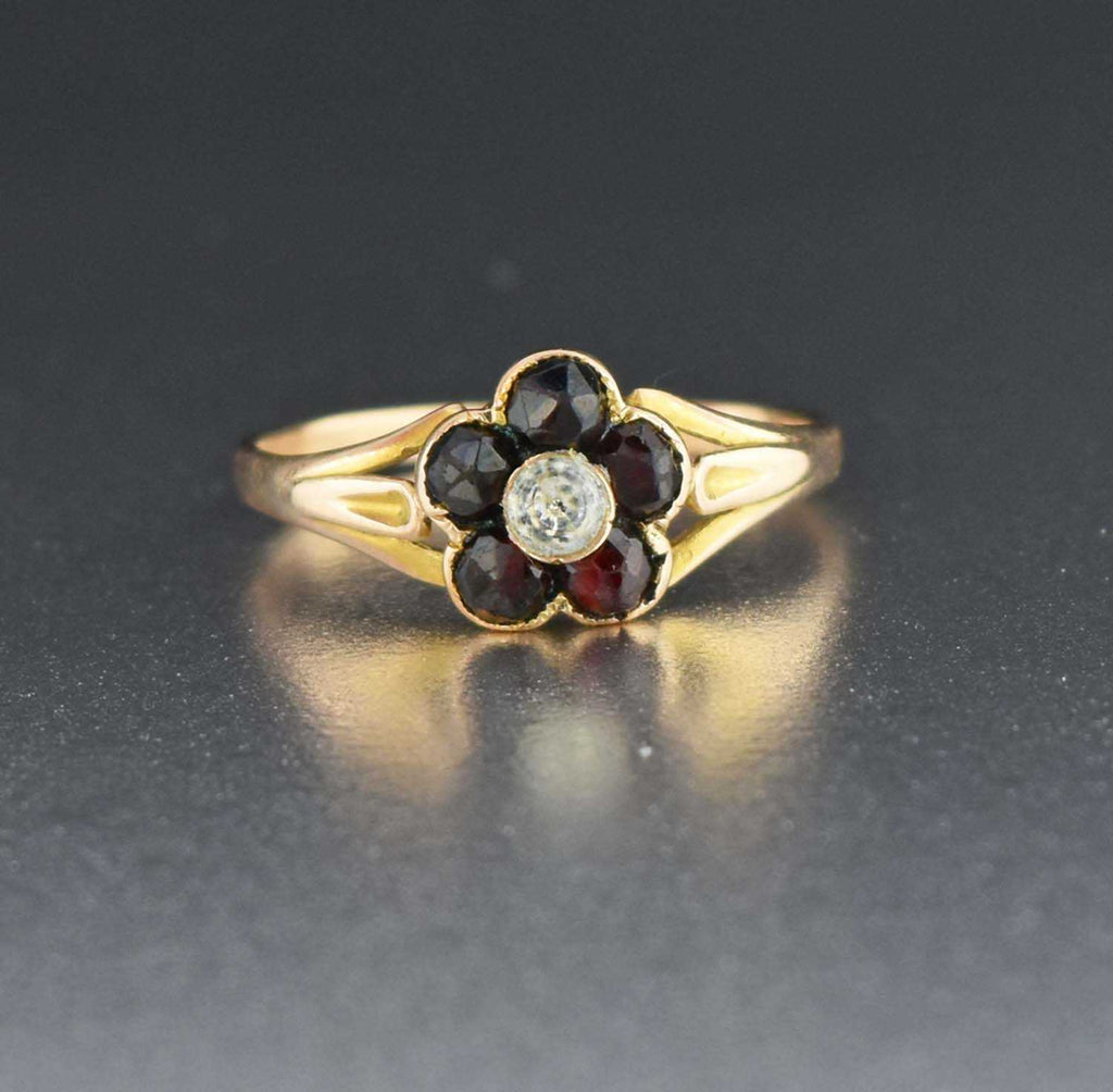 Vintage Gold Diamond Paste Garnet RIng 19th Century - Boylerpf