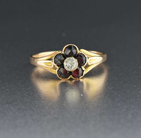 Vintage Gold Diamond Paste Garnet RIng 19th Century