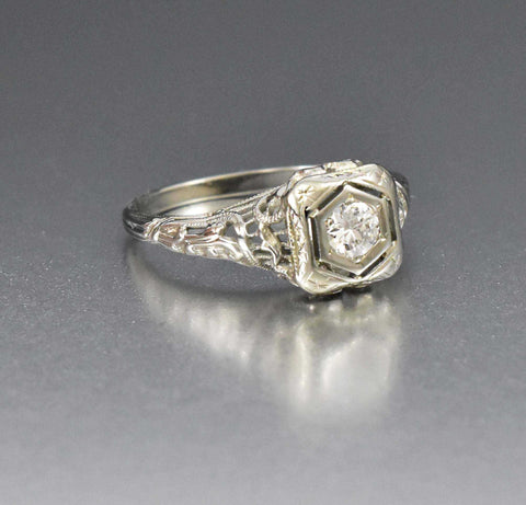 Art Deco Diamond Engagement Ring 18K White Gold 1/3 CTW