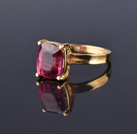 14K Gold Cushion Cut Pink Tourmaline Ring